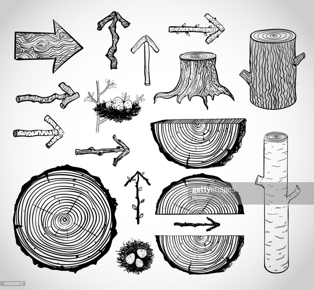 Skethces of wood cuts, logs, stump and wooden arrows