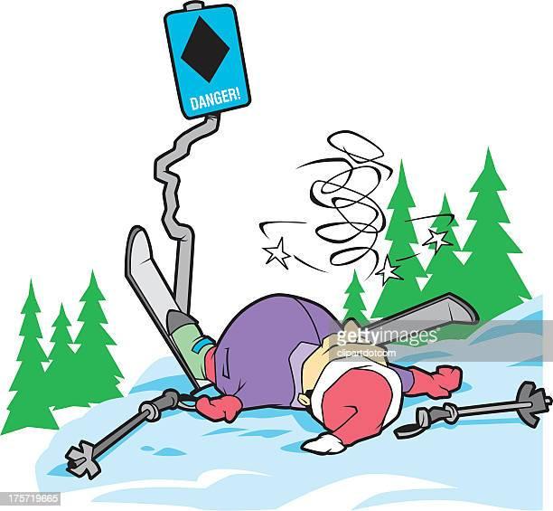 illustrations, cliparts, dessins animés et icônes de accident de ski - ski humour
