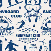 Ski and Snowboard Club seamless pattern. Vector illustration