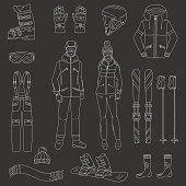 Ski and snowboard icons set  vector illustration.