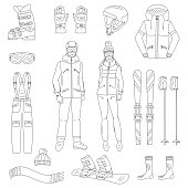 Ski and snowboard icons set  vector illustration.