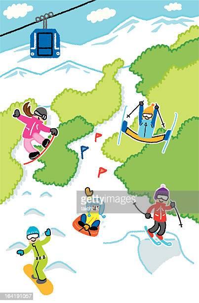 ski and snowboard - ski slope stock illustrations, clip art, cartoons, & icons