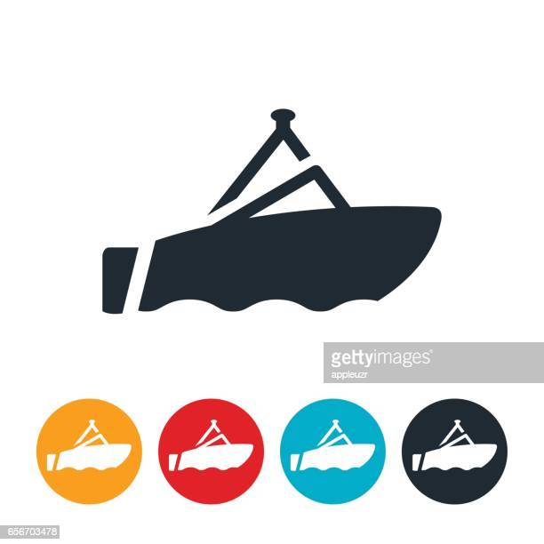 ski boat icon - motorboating stock illustrations, clip art, cartoons, & icons