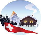Ski cabin with Matterhorn and swiss pennant