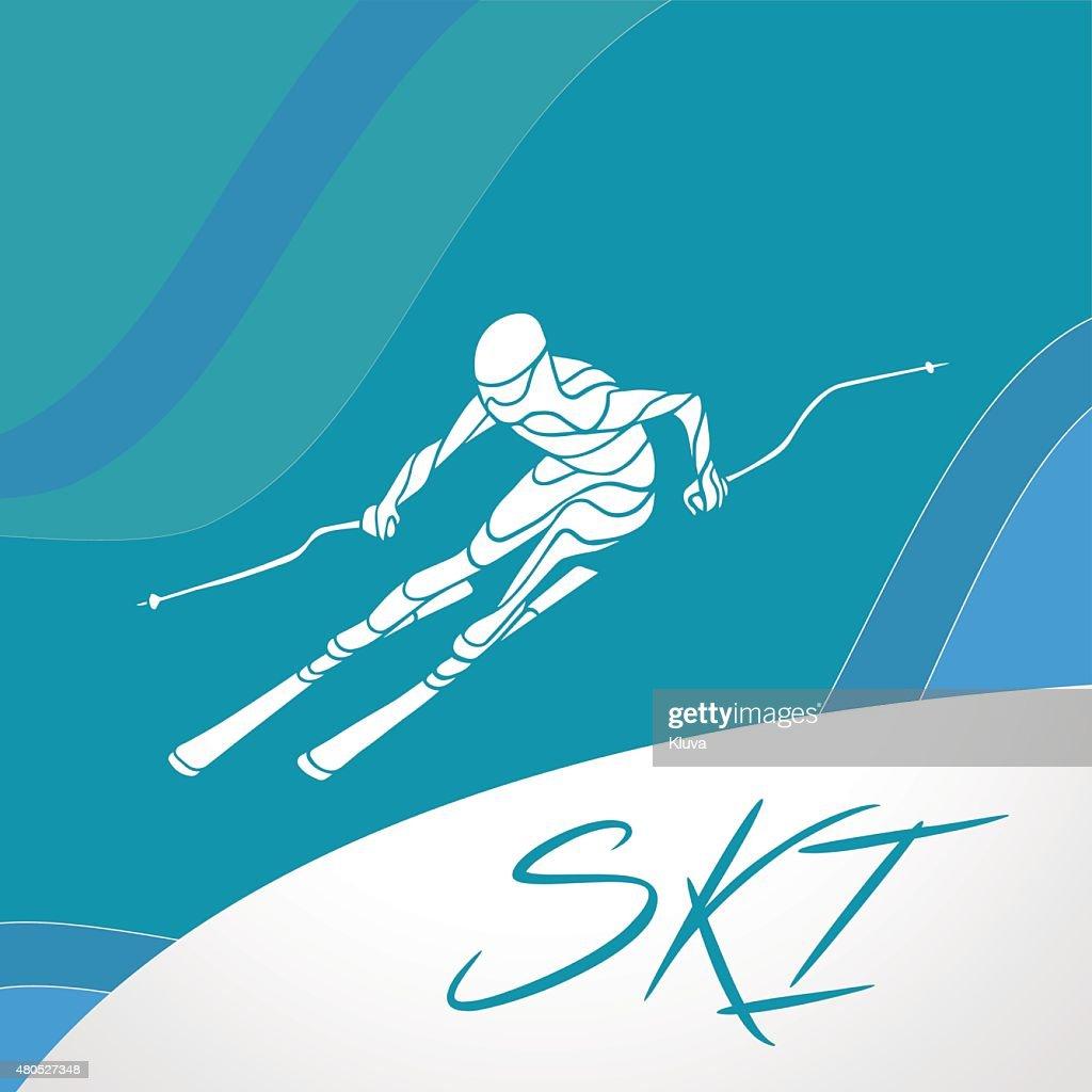 スキーダウンヒルクリエイティブなシルエットを作ります。ベクトルイラストレーション : ベクトルアート