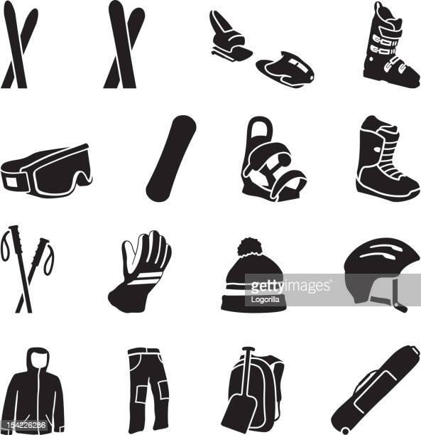 illustrations, cliparts, dessins animés et icônes de icônes de matériel de ski - ski alpin