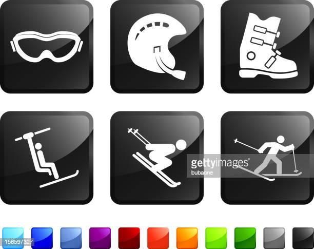 ski equipment royalty free vector icon set - ski goggles stock illustrations, clip art, cartoons, & icons