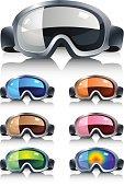 Ski glasses in diferent colors
