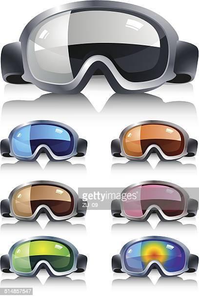 ski glasses in diferent colors - ski goggles stock illustrations, clip art, cartoons, & icons