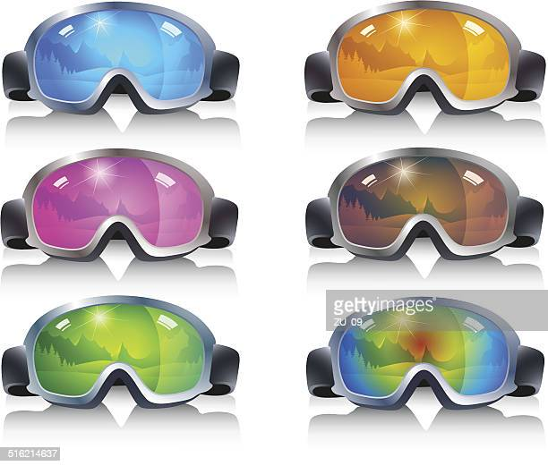 ski glasses in different colors with mirror images of mountains - ski goggles stock illustrations, clip art, cartoons, & icons