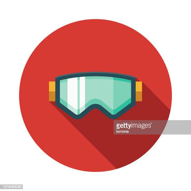 ski goggles flat design switzerland icon - ski goggles stock illustrations, clip art, cartoons, & icons