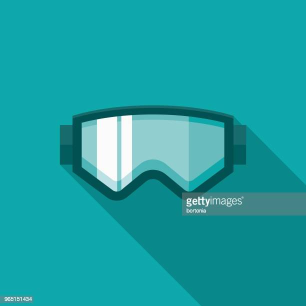 ski goggles flat design winter icon with side shadow - protective eyewear stock illustrations