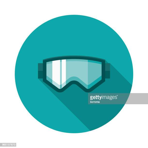 ski goggles flat design winter icon with side shadow - ski goggles stock illustrations, clip art, cartoons, & icons