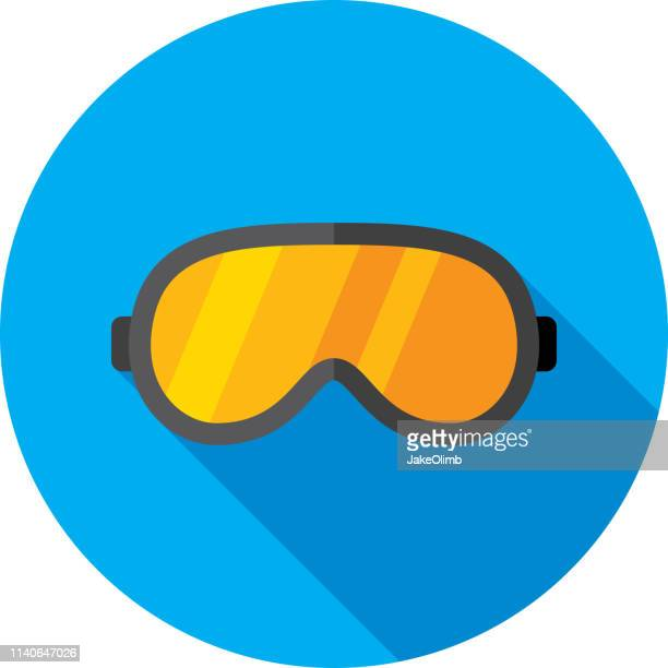ski goggles icon flat - protective eyewear stock illustrations