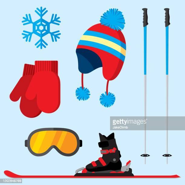 ski items flat - sports glove stock illustrations