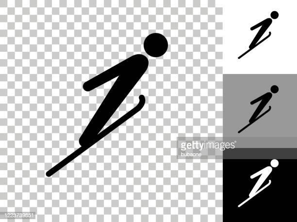 チェッカーボードの透明な背景のスキージャンプアイコン - スキージャンプ点のイラスト素材/クリップアート素材/マンガ素材/アイコン素材