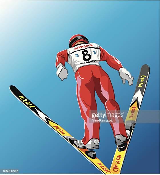 スキージャンプ、空気 - スキージャンプ点のイラスト素材/クリップアート素材/マンガ素材/アイコン素材