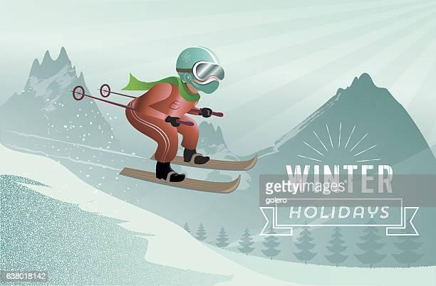 ski jumping man illustration in winter mountain landscape