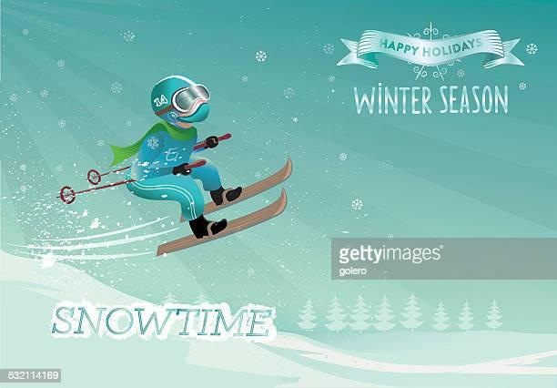スキージャンプの男 - スキージャンプ点のイラスト素材/クリップアート素材/マンガ素材/アイコン素材