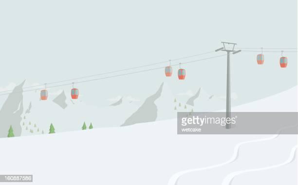 ski lift - ski slope stock illustrations, clip art, cartoons, & icons