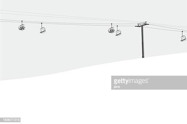 illustrations, cliparts, dessins animés et icônes de télésiège - ski alpin