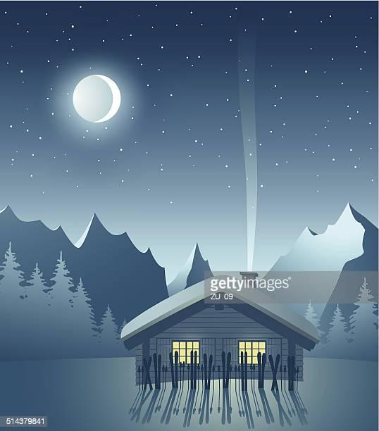 illustrations, cliparts, dessins animés et icônes de ski lodge, winternight dans les montagnes - chalet de montagne