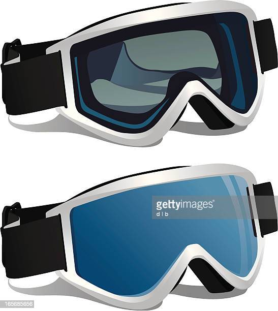 ski or snowboard goggles - ski goggles stock illustrations, clip art, cartoons, & icons