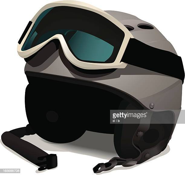 ski or snowboard helmet with goggles - motorcycle helmet isolated stock illustrations, clip art, cartoons, & icons
