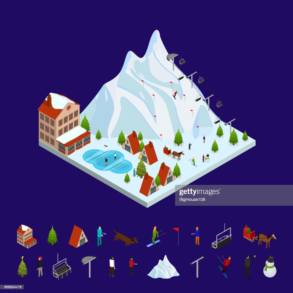 Ski Resort Concept and Elements 3d Isometric View. Vector