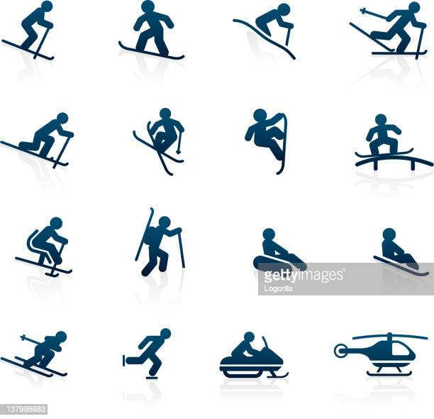 ski resort icons - activities - tobogganing stock illustrations, clip art, cartoons, & icons