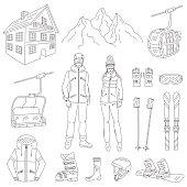 Ski resort icons set  vector illustration.