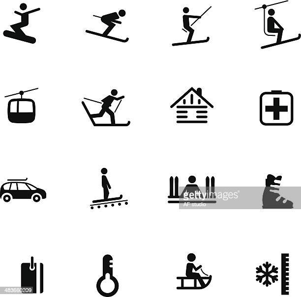 ski resort icons #7 - tobogganing stock illustrations, clip art, cartoons, & icons