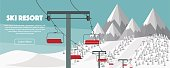 Ski resort, lift flat vector illustration. Alps, fir trees, mountains wide panoramic background.