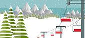 Ski resort, lift flat vector illustration. Alps, fir trees, mountains wide panoramic background. Ski hills, winter web banner design.