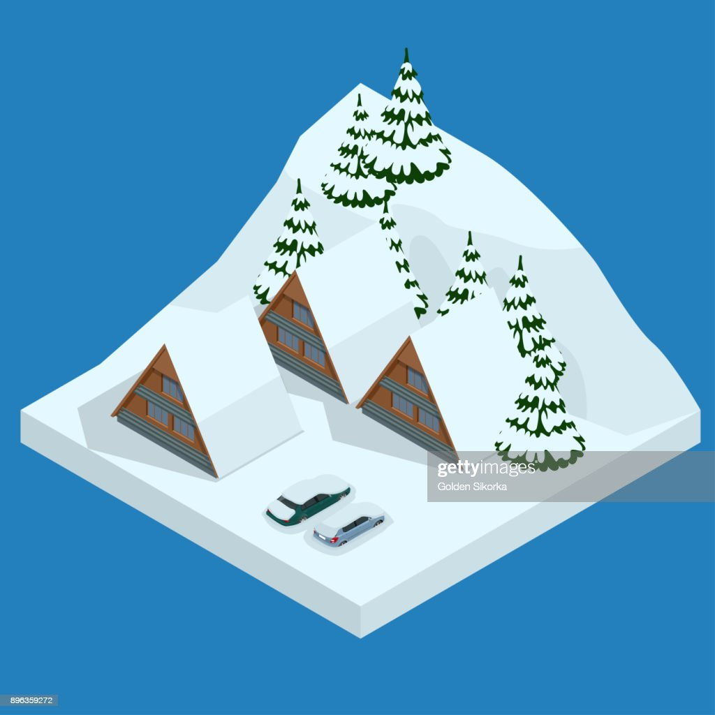 Ski resort, slope, people on the ski lift, skiers on the piste among white snow pine trees and hotel. Winter holiday web banner design. Vector isometric illustration.