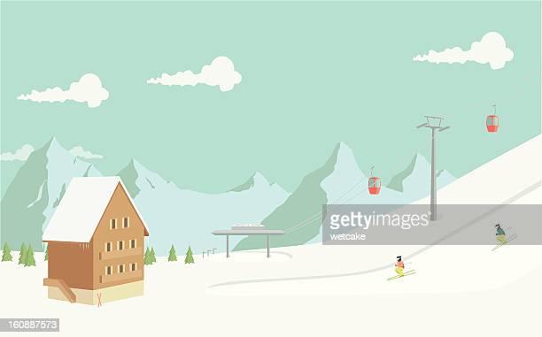 illustrations, cliparts, dessins animés et icônes de station de ski - ski alpin