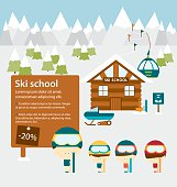 Ski school advertisement layout