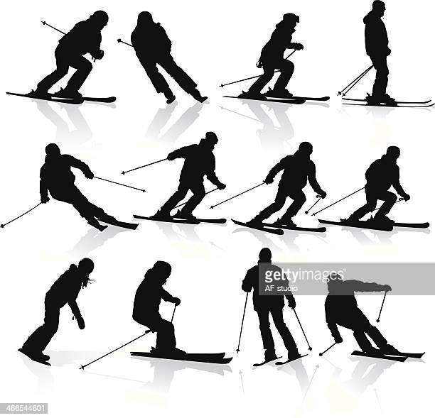 ski-look - ski slalom stock-grafiken, -clipart, -cartoons und -symbole