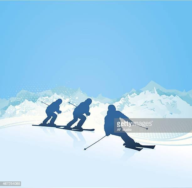 illustrations, cliparts, dessins animés et icônes de silhouettes de ski - ski alpin