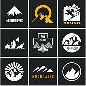 Ski. Skiing. Skier. Mountain icons set