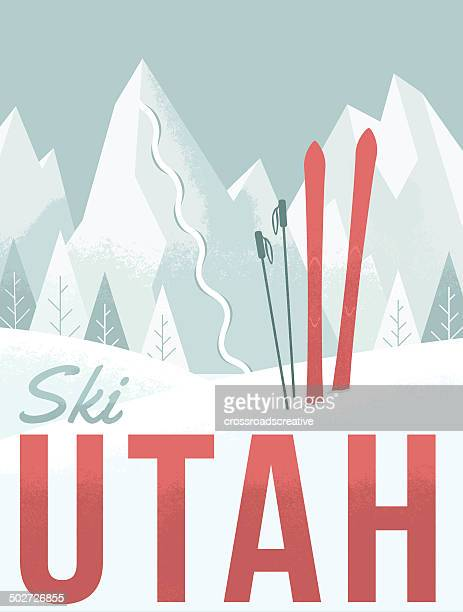 ski utah - utah stock illustrations, clip art, cartoons, & icons