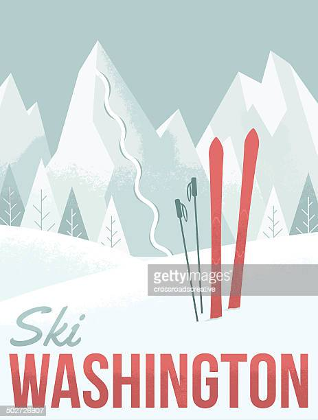 ski washington - mountain pass stock illustrations