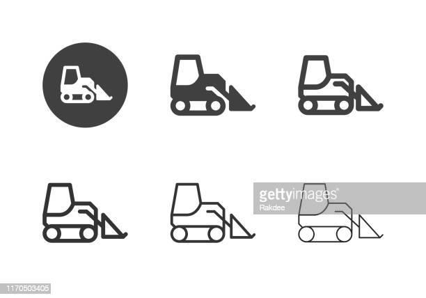 illustrations, cliparts, dessins animés et icônes de skid steer loader icônes - série multi - chauffeur routier