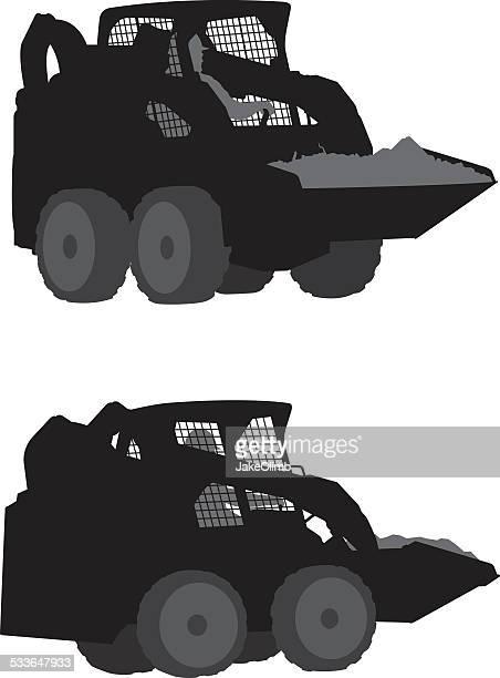 skid steer loader silhouette - skidding stock illustrations, clip art, cartoons, & icons