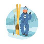 Skier child flat vector illustration