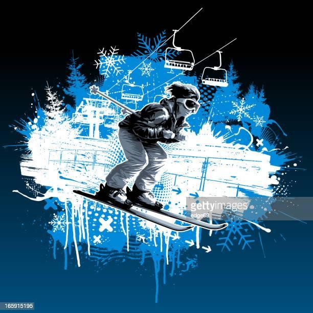 skier grunge design - ski slope stock illustrations, clip art, cartoons, & icons