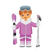 skier in a purple suit