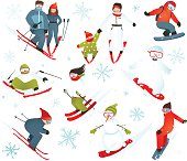 Skier Snowboarder Snowflakes Winter Sport Collection