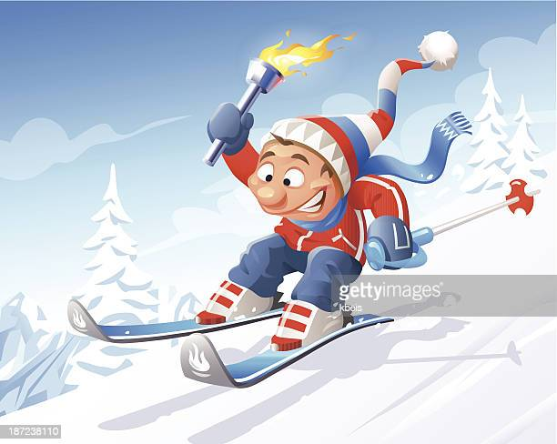 skier with olympic torch - sport torch stock illustrations, clip art, cartoons, & icons