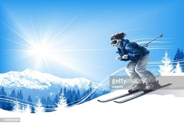 illustrations, cliparts, dessins animés et icônes de skieur avec soleil et les montagnes - ski alpin